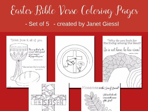 Easter Bible Verse Coloring Pages - Set of 5