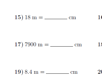 Converting metric units of length worksheet no 2 (with solutions)