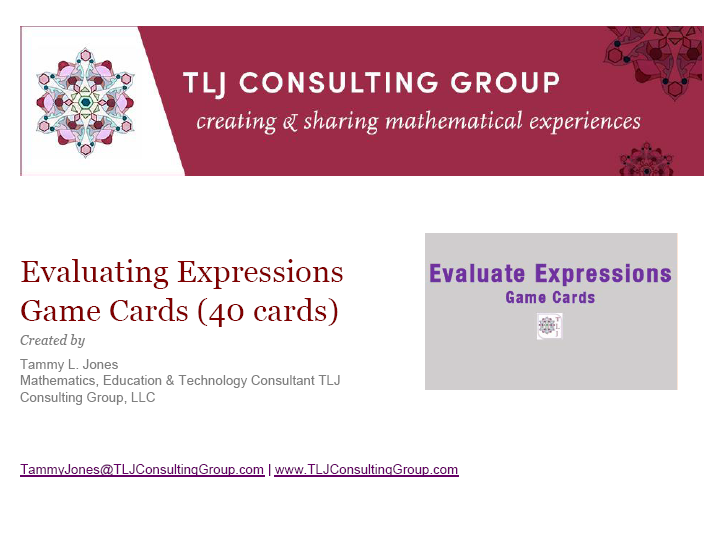 Evaluate Expressions Game Cards (40 Cards)