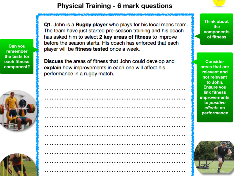 6 mark questions (differentiated) - GCSE PE - Physical training