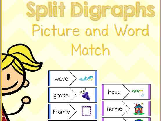 Split Digraphs - Magic E - Picture & Word Match - English Activity - Phonics