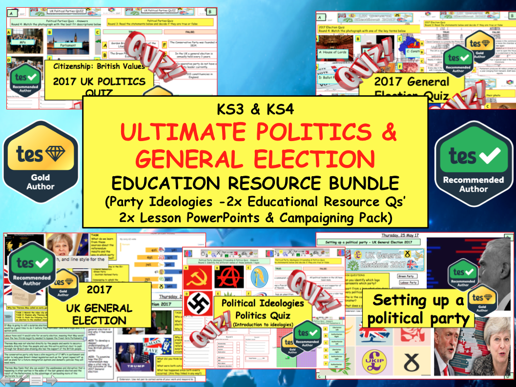 Citizenship: Politics and General Election 2017 Bundle - Lessons, Quizzes & Campaigning.