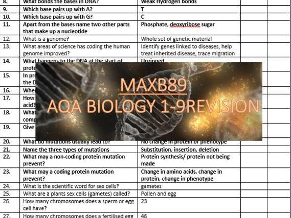 GCSE 9-1 Revision Biology AQA Unit 6 Retrieval Practice Quiz