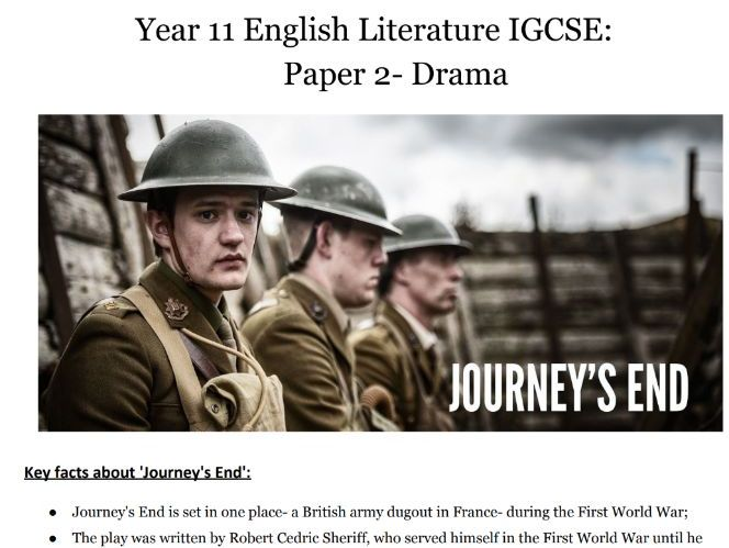 Journey's End- Full Play, Questions and Reading Booklet