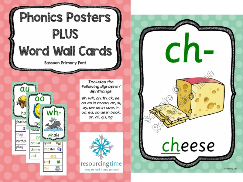 Phonics Posters and Word Wall Cards - Sassoon Primary Font