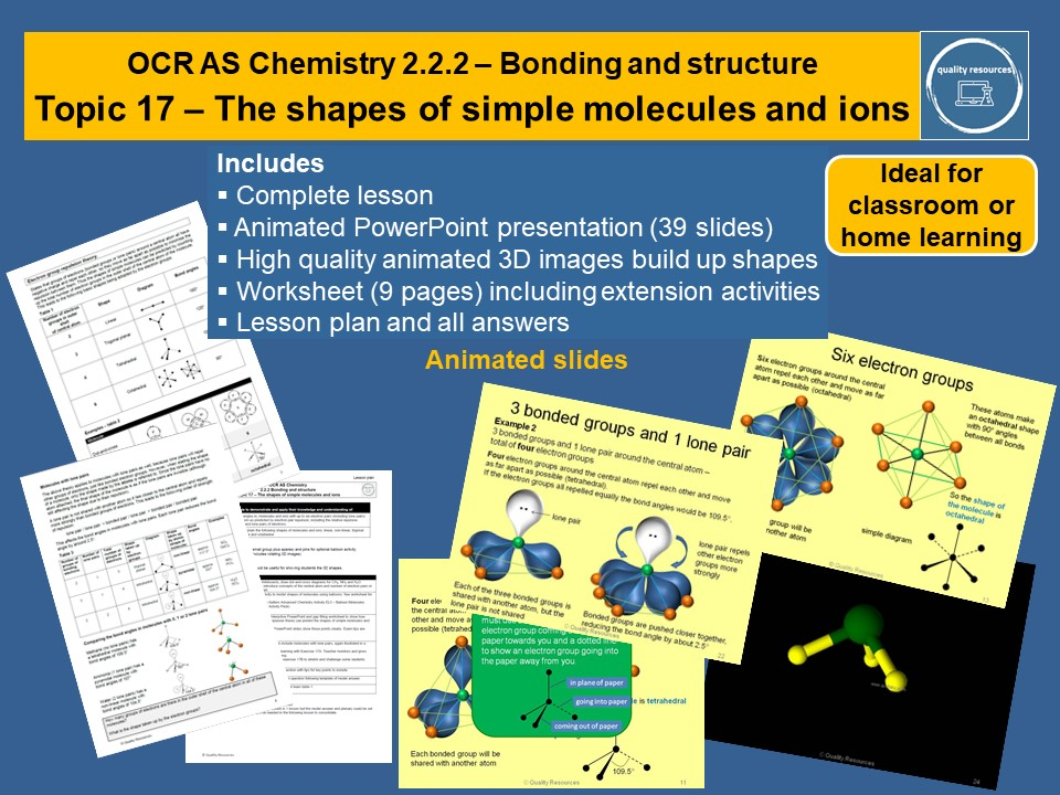 Shapes of molecules and ions OCR AS Chemistry