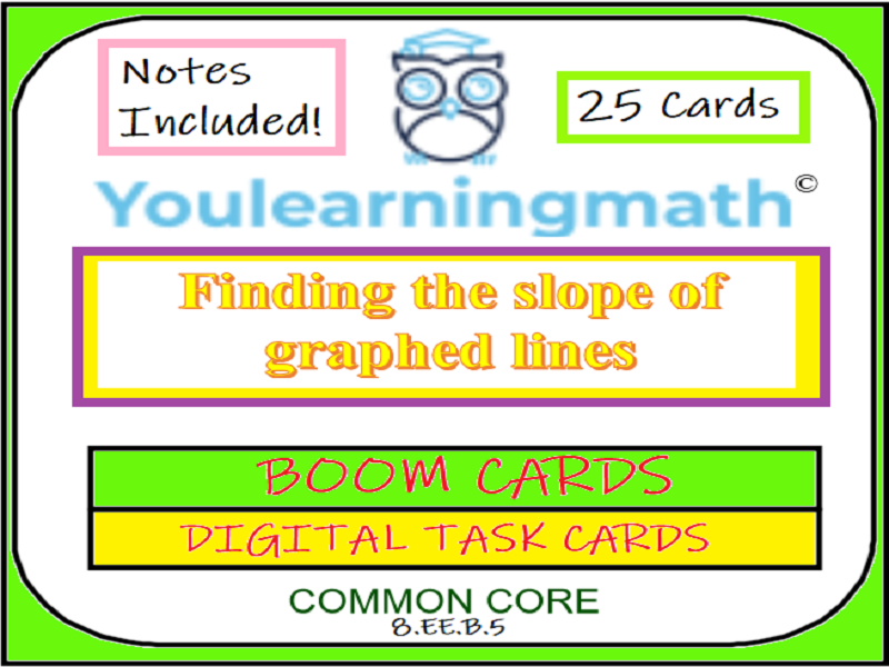 Finding the Slope of Graphed Lines: DIGITAL BOOM Cards (Notes + 22 Printable Task Cards)