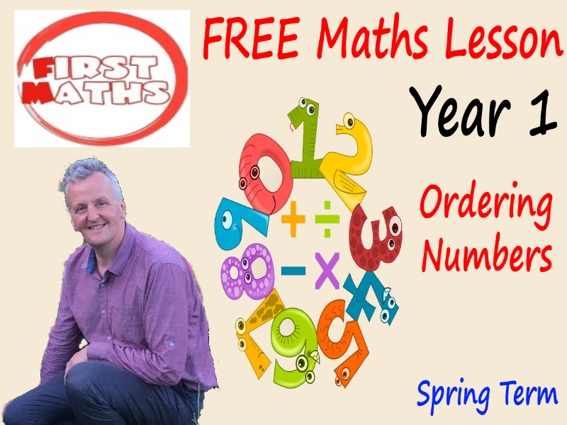 Ordering  Numbers Year 1 YouTube Maths PowerPoint Lesson- Spring Term - FREE