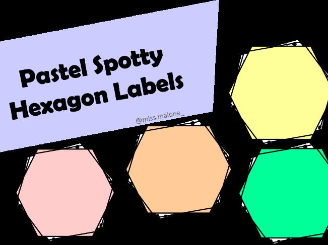 Pastel Spotty Hexagon Labels