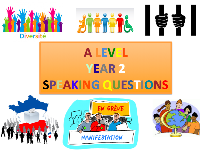 A Level French Year 2  / Speaking preparation and practice questions / New 2017+