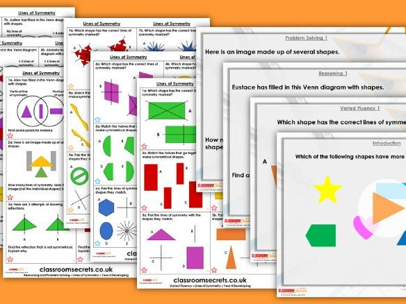 Year 4 Lines of Symmetry Summer Block 5 Step 5 Maths Lesson Pack