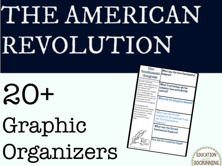 American Revolution 20+ Interactive Notebook Graphic organizers