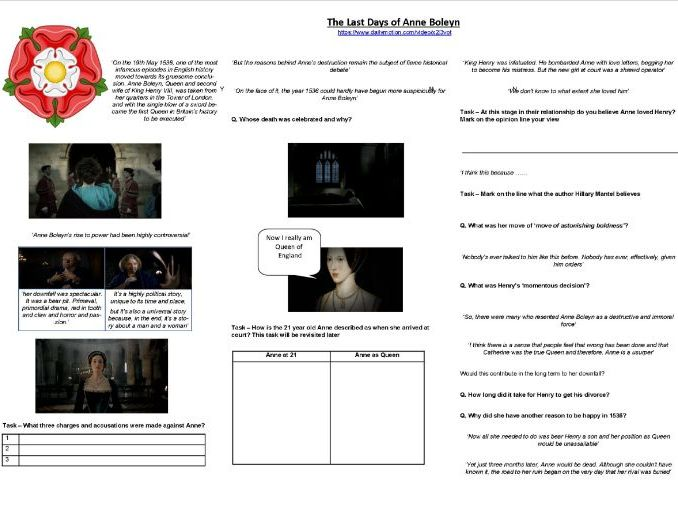 The last days of Anne Boleyn - Worksheet to Support the BBC TV Documentary