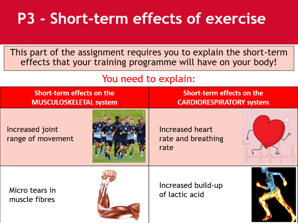 Short term effect of fitness training - BTEC Sport - Unit 3