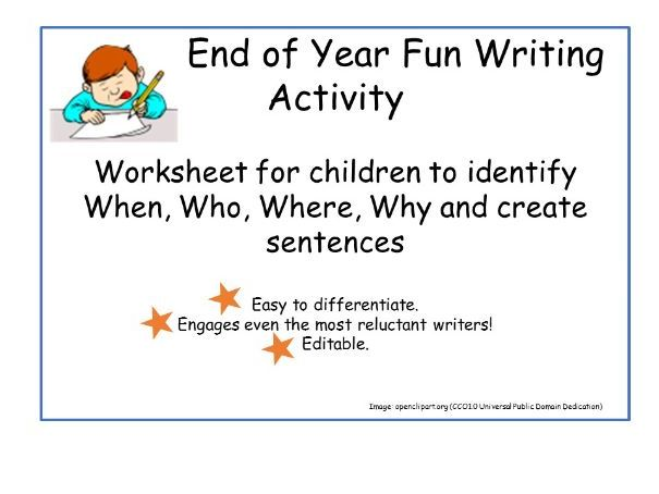 End of Year Fun Writing Activity