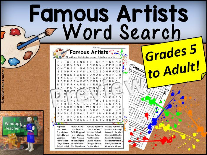 Famous Artists Word Search - Hard for Grades 5 to Adult