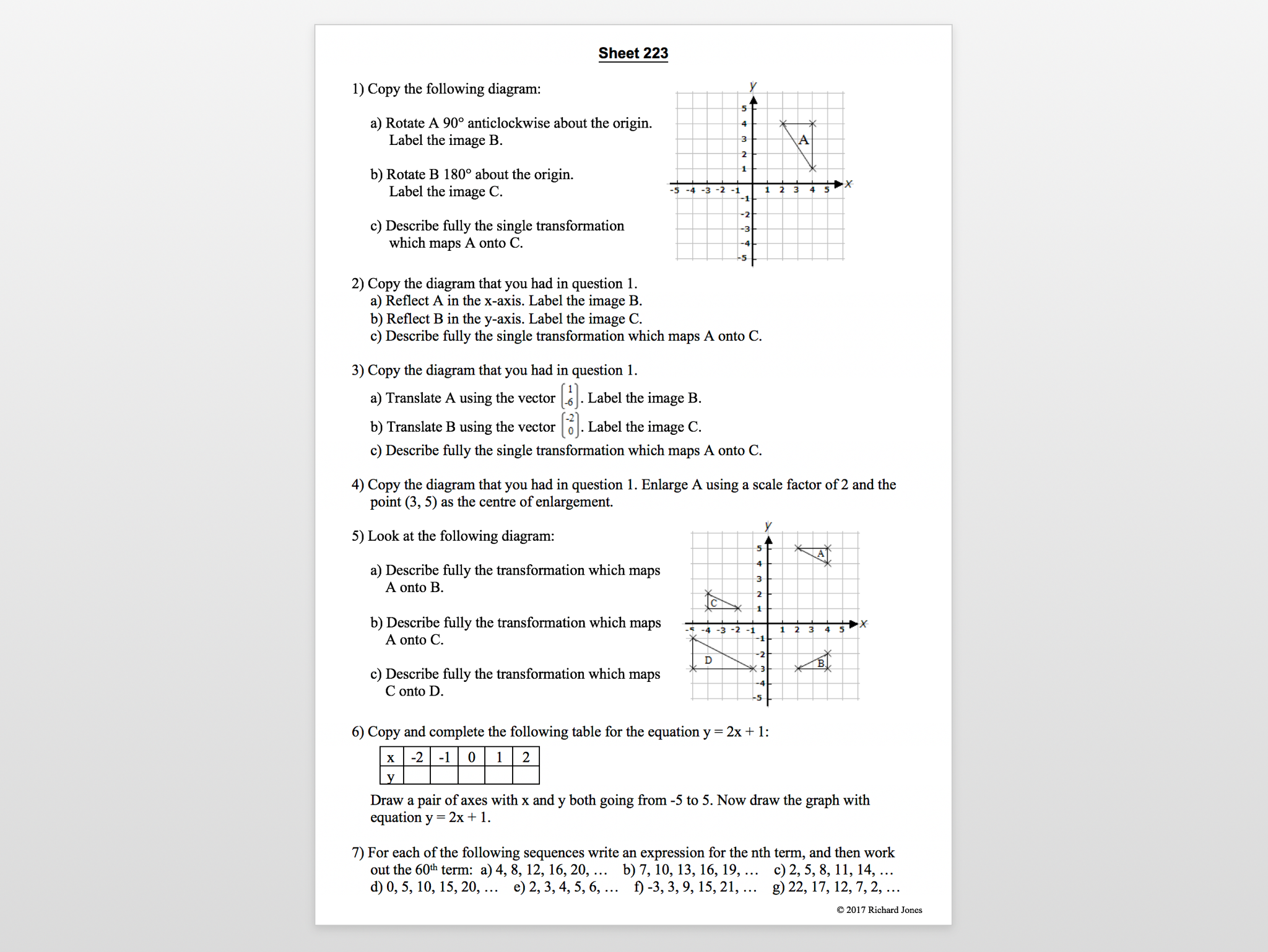 Sheets 201 - 230 from the 455 Maths revision sheets resource