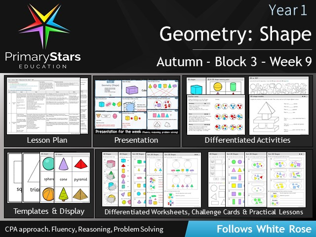 YEAR 1 - Geometry Shape - White Rose - WEEK 9 - Block 3 - Aut - Differentiated Planning & Resources