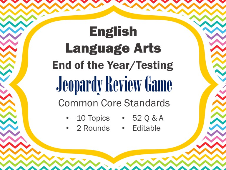 ELA Test Prep/End of Year Review - Jeopardy Game