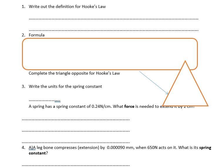 GCSE Physics Worksheet: Hooke's Law, definition, formula, Q&A