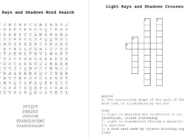 Light Rays, Shadows Word Search & Crossword Keywords