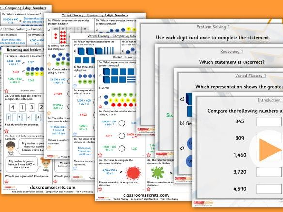 Year 4 Compare 4-digit Numbers Autumn Block 1 Step 9 Lesson Pack