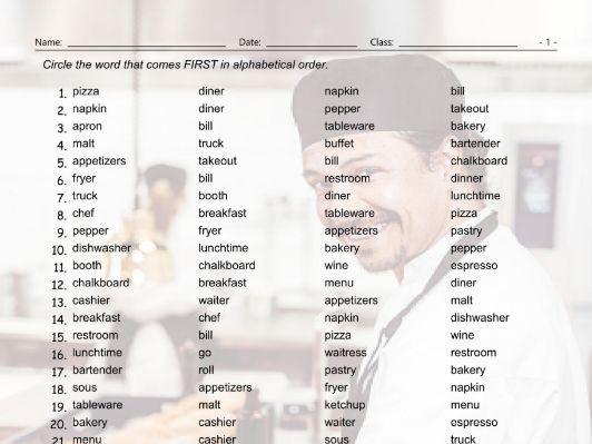 Restaurant Things-Activities Alphabetical Order Worksheet