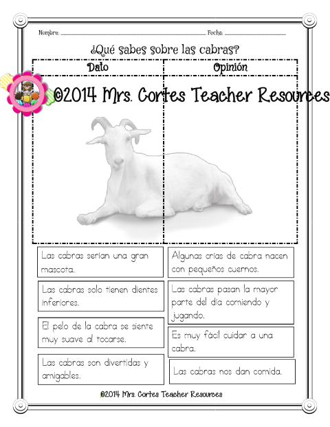 What do you know about goats???  Fact and Opinion Bilingual Freebie