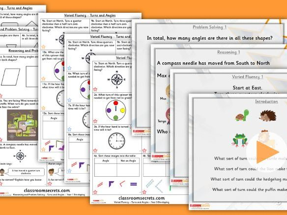 FREE Year 3 Turns and Angles Summer Block 3 Step 1 Lesson Pack