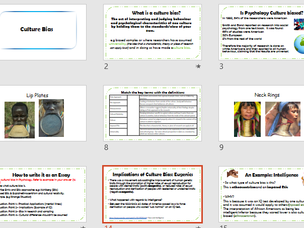 CULTURE BIAS - Aqa Psychology - Issues and Debates- Full Lesson and Activities