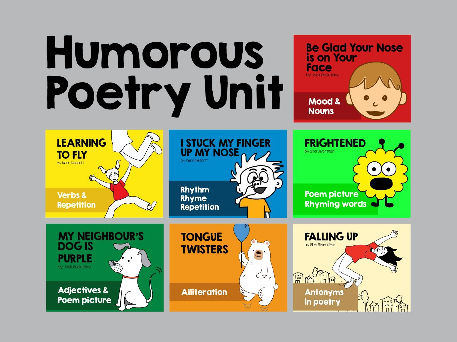 Humorous Poetry Unit. 8 poetry lessons + worksheets.