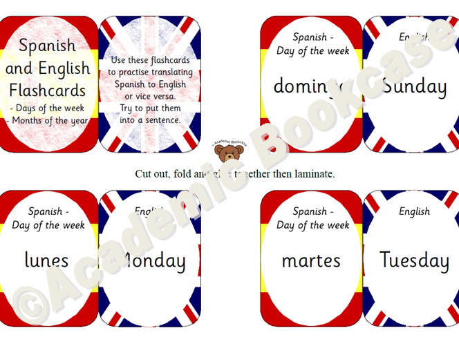 Self check Spanish to English flashcards - Days and Months of the Year