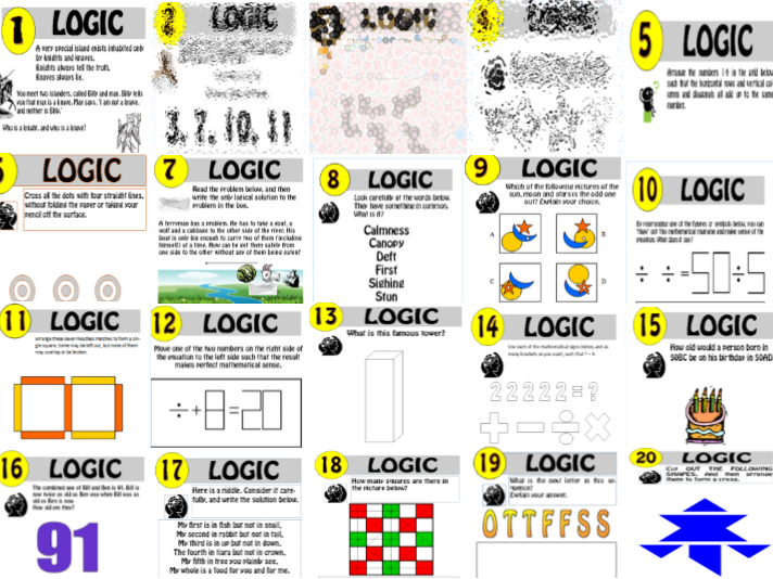 Critical thinking: 20 Logic Puzzles 1-20 - The complete set bundle! 68% saving!!