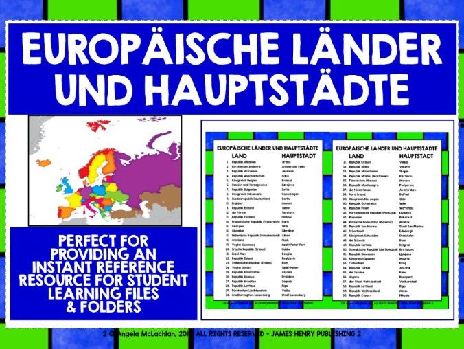 GERMAN REFERENCE EUROPE COUNTRIES & CAPITALS
