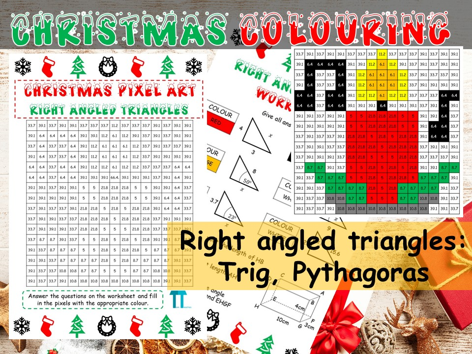 Christmas maths GCSE revision on right angled triangles: Trig and Pythagoras