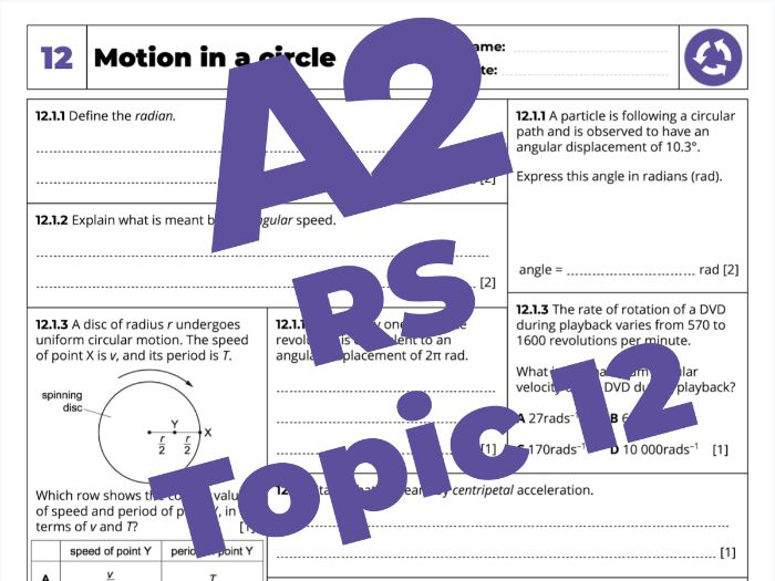 A2 Physics 9702 - Revision Sheet - 12. Motion in a circle