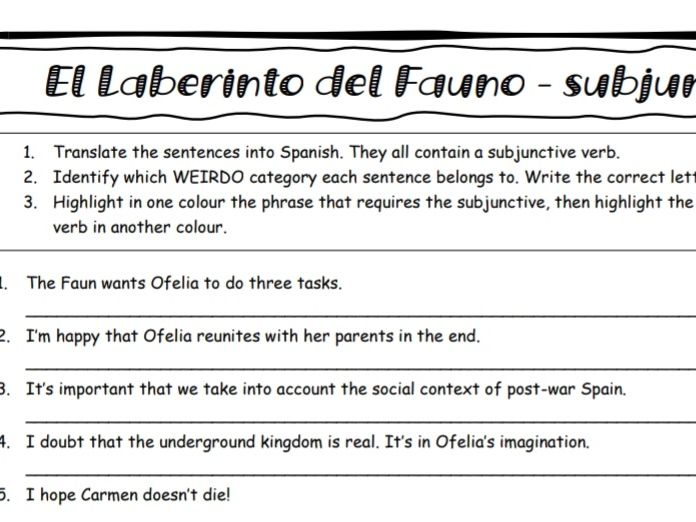 Pan's Labyrinth present subjunctive practice