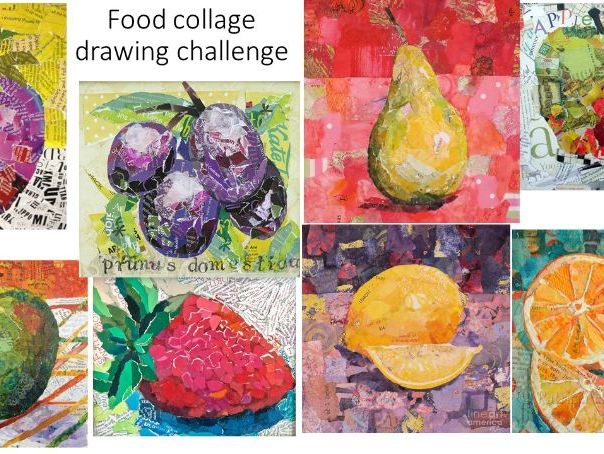 KS3 fruit collage drawing challenge for art students