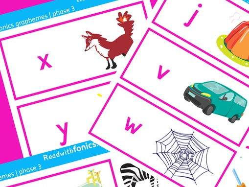 Phase 3 graphemes | phonics flashcards with sounds and pictures