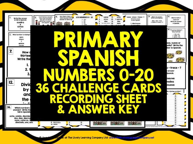 PRIMARY SPANISH NUMBERS 0-20 CHALLENGE CARDS