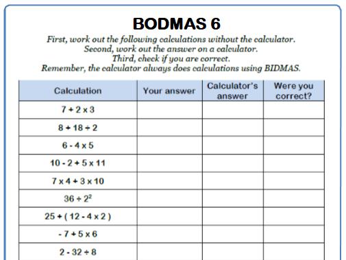 BODMAS Maths Worksheet 6