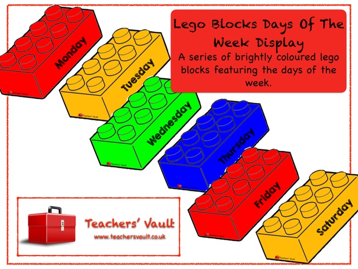 Lego Blocks Days Of The Week Display