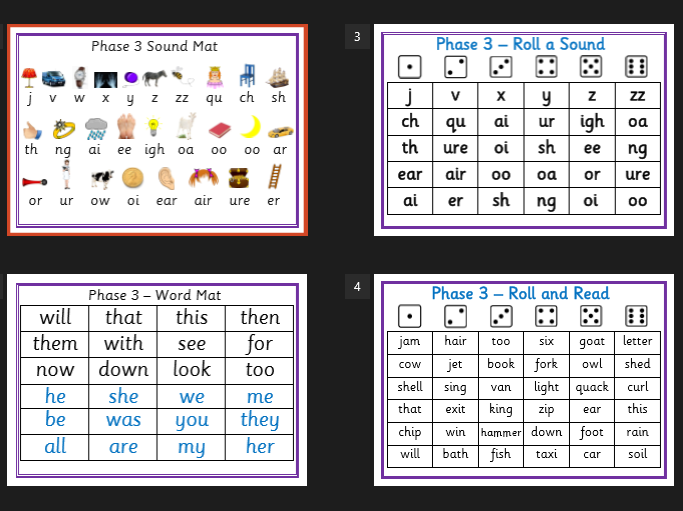 Phase 3 Phonics, sound mat, word mat, roll a sound, roll and read - EYFS, KS1, Letters and Sounds