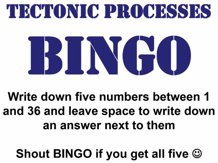 Bingo Revision Activity for Edexcel 2016 AS/A Level Geography Topic 1 (Tectonic Processes & Hazards)