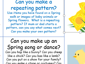 EYFS Spring home learning topic project school closure Early Years