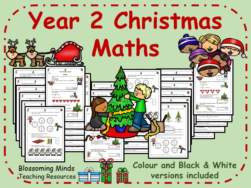 Year 2 Christmas Maths - all topics - 3 levels