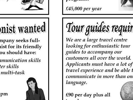 Job advertisements cards