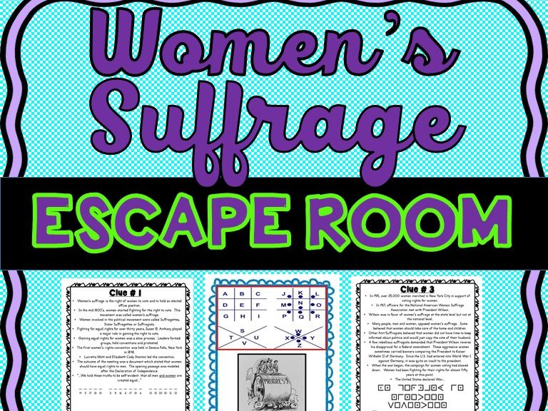 Women's Suffrage ESCAPE ROOM: U.S. History - Voting Rights- Print & Go!