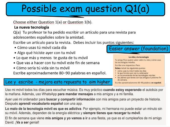 SPANISH  WRITING GCSE 9-1 ASSESSMENT - GUIDANCE FOR STUDENTS VIVA BOOK