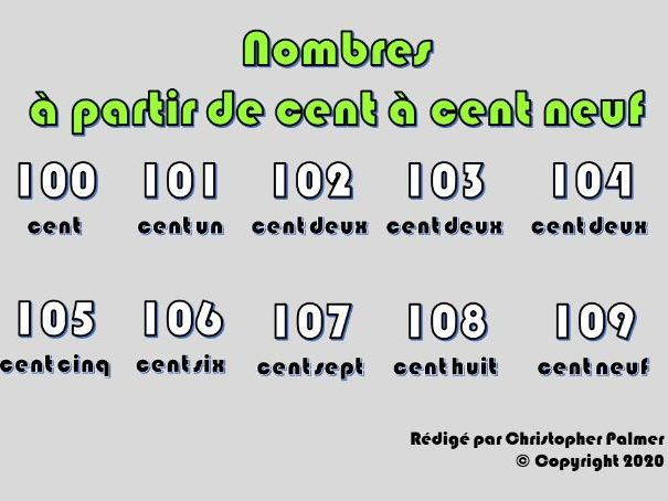 Key Stage 3 French: Numbers from 100-109 (with age and 'ils' and 'votre/vos')
